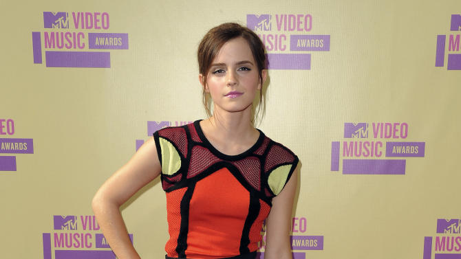 Emma Watson arrives at the MTV Video Music Awards on Thursday, Sept. 6, 2012, in Los Angeles. (Photo by Jordan Strauss/Invision/AP)