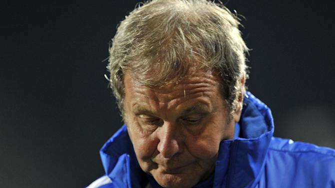 Slovakia's head coach Jan Kozak reacts during a World Cup 2014 Group G qualification match against Latvia in Riga, Latvia, on Tuesday. Oct. 15, 2013. (AP Photo / Roman Koksarov)