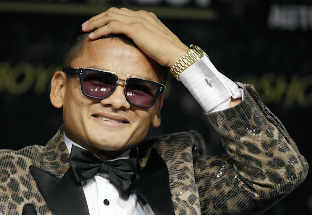Marcos Maidana speaks during a news conference Wednesday, Sept. 10, 2014, in Las Vegas. Maidana is scheduled to fight Floyd Mayweather Jr. in a welterweight title fight Saturday in Las Vegas