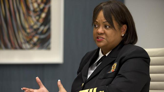 "In this Dec. 5, 2012, photo, Regina Benjamin, Surgeon General of the United States, is interviewed after speaking about health disparities in Washington. African-American women have the highest rate of obesity of any group of Americans. Four out of five black women have a body mass index above 25 percent, the threshold for being overweight or obese, according to the Centers for Disease Control and Prevention. By comparison, nearly two-thirds of all Americans are in this category, the CDC said. While first lady Michelle Obama has succeeded at encouraging exercise through her ""Let's Move!"" campaign, the spark for this current activity among black women most likely was lit last year when Surgeon General Regina Benjamin observed publicly that women must stop allowing concern about their hair prevent them from exercising. (AP Photo/Jacquelyn Martin)"