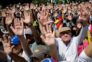 Demonstrators raise their hands in the air to show that they are unarmed and peaceful, during a protest asking for the disarmament of armed groups in Caracas, Venezuela, Sunday, Feb. 16, 2014. For the past several days, protests have rocked Caracas yielding several dead and scores of wounded in clashes between opposition protesters with security forces and pro-government supporters. (AP Photo/Alejandro Cegarra)