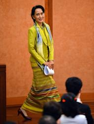 Myanmar opposition leader Aung San Suu Kyi delivers a speech at the University of Tokyo on April 17, 2013. Foreign observers need to take a more realistic view of the democracy leader, a senior diplomat formerly posted to Myanmar told AFP
