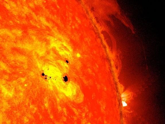 The bottom two black spots on the sun, known as sunspots, appeared quickly over the course of Feb. 19-20, 2013. These two sunspots are part of the same system and are over six Earths across.