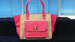 Aldo's hot pink and straw tote