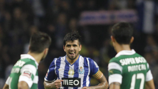 Porto's Lucho celebrates his goal against Sporting Lisboa during their Portuguese premier league soccer match in Porto