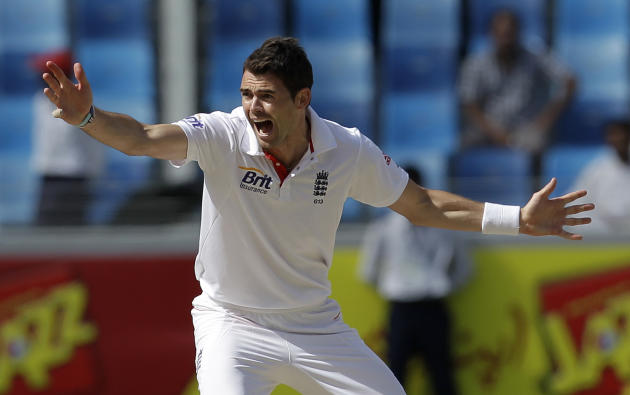 England's bowler James Anderson celebrates taking the wicket of Pakistan's Taufeeq Umar, not pictured, during the first day of the third cricket test match of a three match series between England and
