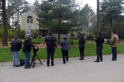 News media wait outside the home where Katherine Tsarnaeva is staying April 23, 2013 in North Kingstown, Rhode Island