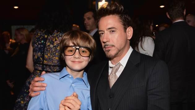 Ty Simpkins and Robert Downey Jr. attend Marvel's 'Iron Man 3' premiere after party at Hard Rock Cafe on April 24, 2013 in Hollywood, Calif. -- Getty Premium