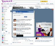 Facebook application on Yahoo home page