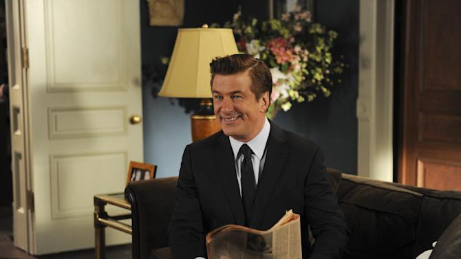 """This image released by NBC shows Alec Baldwin as Jack Donaghy in a scene from the series finale of """"30 Rock,"""" airing Thursday, Jan. 31, 2013 on NBC. (AP Photo/NBC,  Ali Goldstein)"""