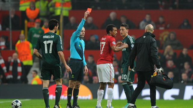 Football - Neville shocked by red card