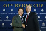 Tom Watson (L) is congratulated as the new US Ryder Cup captain by president of the USPGA Ted Bishop during the 2014 US Ryder Cup captain's news conference in New York on December 13, 2012. The opening skirmishes for the 2014 Ryder Cup at Gleneagles, Scotland, have been played out and the United States have come out on top