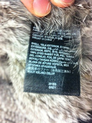 PETA released this image as alleged evidence of Bebe using real fur. (Fashionista.com)