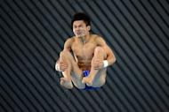 China's Qiu Bo competes in the men's 10m platform preliminary round during the diving event at the London 2012 Olympic Games, on August 10. Qiu will expect to collect China's seventh diving gold medal in Saturday's final, after leading Friday's qualifiers