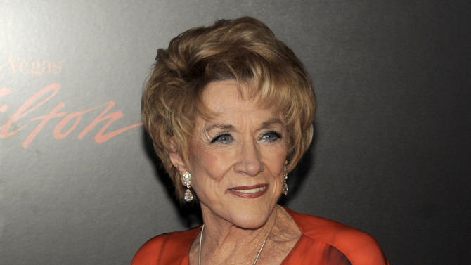 """FILE - In this June 27, 2010 file photo, actress Jeanne Cooper arrives at the 37th Annual Daytime Emmy Awards in Las Vegas. CBS says soap opera star Jeanne Cooper has died. She was 84.  Cooper played grande dame Katherine Chancellor on CBS' """"The Young and the Restless"""" for nearly four decades. (AP Photo/Chris Pizzello, File)"""