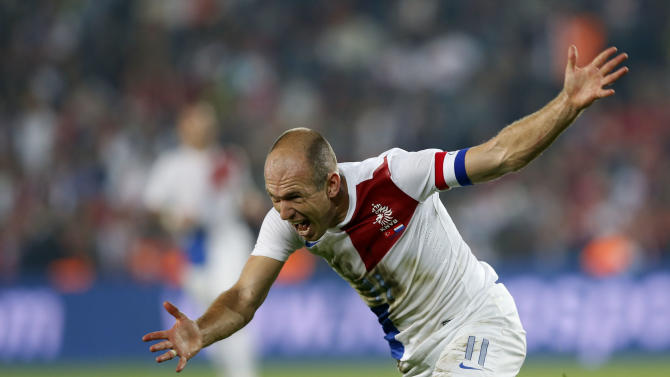 Netherlands' Robben reacts during 2014 World Cup qualifying soccer match against Turkey in Istanbul