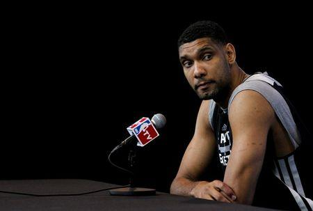 San Antonio Spurs forward Tim Duncan speaks during media session for NBA Finals basketball series in San Antonio