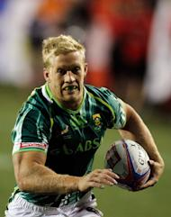 Kyle Brown of South Africa scores a try against Wales at the USA Sevens Rugby in February. After crashing out against Portugal last week, hosts South Africa want to save face at this weekend's showpiece but they will have to do so without captain Brown, who is out of action with a broken ankle