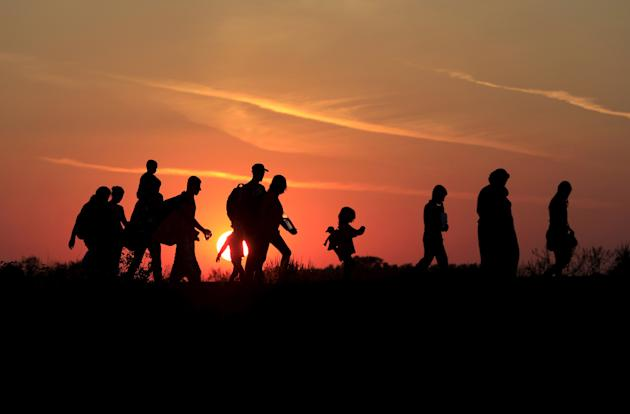 Migrants walk along in the sunset after crossing into Hungary from the border with Serbia near Roszke