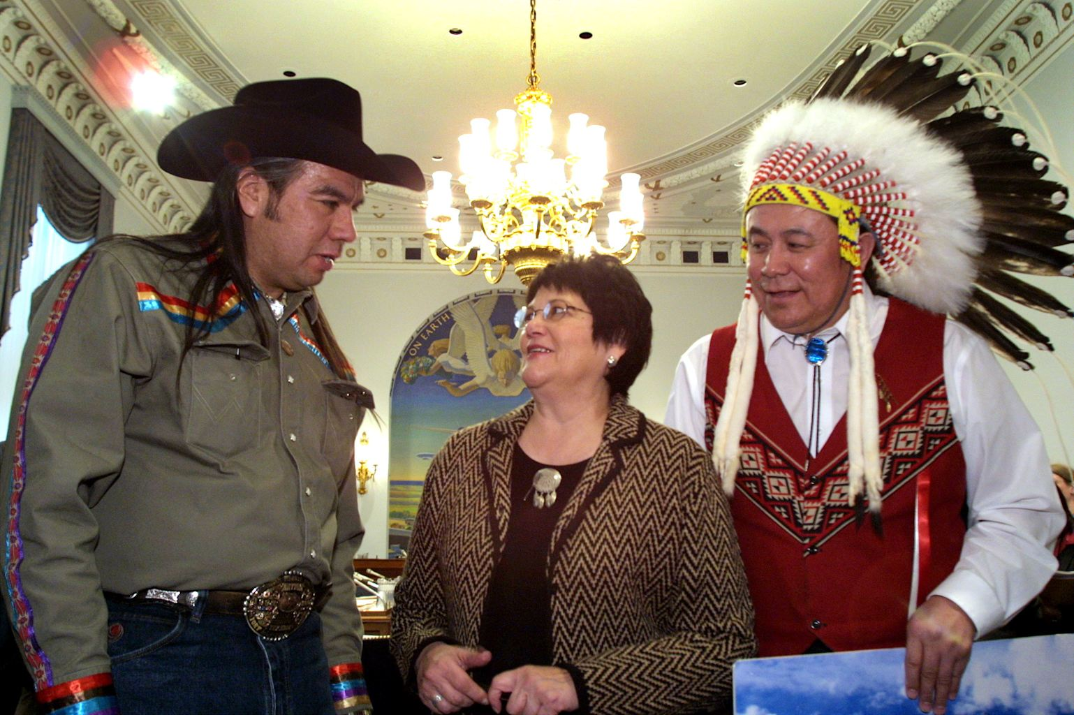 ... Cobell of the Blackfeet Tribe of Montana, center, and Jimmy Goddard