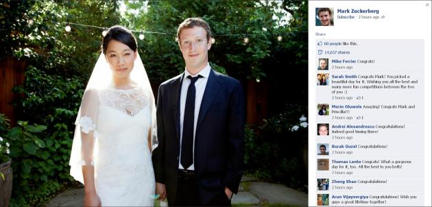 Facebook co-founder and CEO Zuckerberg and Priscilla Chan are seen in this screengrab of a wedding photo posted on Zuckerberg's Facebook page