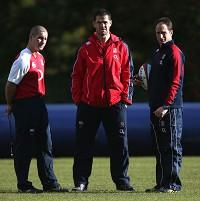 Andy Farrell, centre, says England coaches hope the team can reach the next level