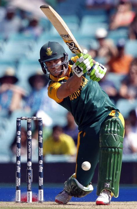 South Africa's Faf du Plessis hits a shot during the Cricket World Cup match against the West Indies at the SCG