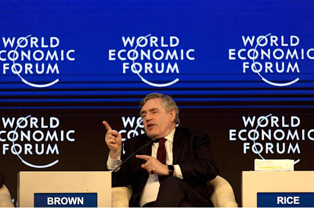 """Former U.K. Prime Minister Gordon Brown takes part in the """"Infrastructure for Development"""" session of the World Economic Forum, at the King Hussein convention center, Dead Sea resort of Sout"""