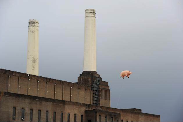 File photo of an inflatable pink pig flying above Battersea Power Station in London