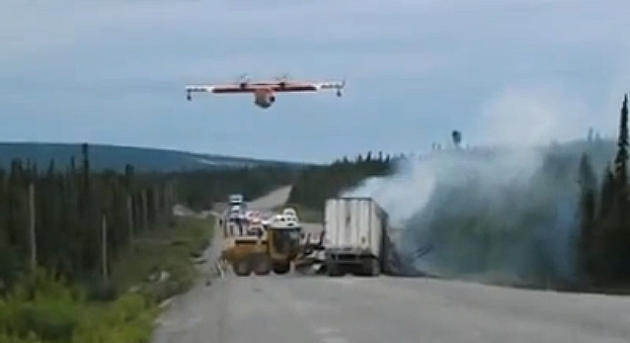 Check out the video below of this Canadian water bomber taking care of business on the Trans-Lab highway.