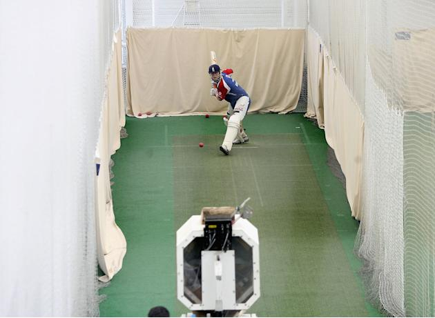 BIRMINGHAM, UNITED KINGDOM - MAY 24:  England captain Andrew Flintoff trains using the 'Merlyn' bowling machine during England Nets at the Indoor School at Edgbaston, on May 24, 2006 in Birmingham, En