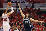 Los Angeles Clippers' Blake Griffin (L) attempts to shoot over Memphis Grizzlies' Marc Gasol during game six of the NBA Western Conference series on May 11. Gasol scored 23 points to lead the Grizzlies over the Clippers 90-88