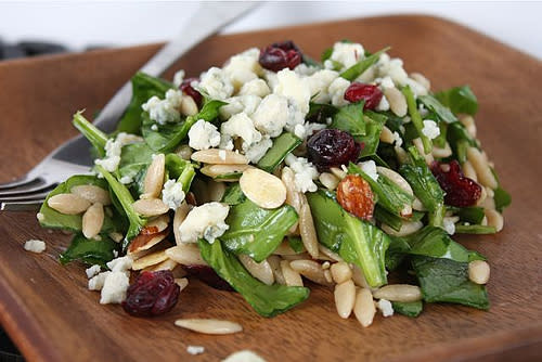 Spinach Almond Orzo Salad with Cranberries