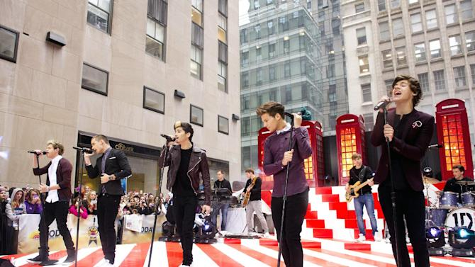 "FILE - In this Tuesday, Nov. 13, 2012 file photo, One Direction members, from left, Niall Horan, Liam Payne, Zayn Malik, Louis Tomlinson and Harry Styles perform on NBC's ""Today"" show in New York. On Nov. 13, 2012, One Direction released its sophomore album, ""Take Me Home,"" which comes eight months after the boy band dropped its debut, ""Up All Night,"" which debuted at No. 1 and is platinum. (Photo by Charles Sykes/Invision/AP, File)"