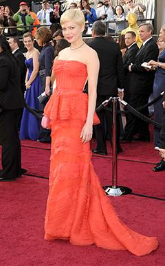 Michelle Williams Rocks Red Hot Louis Vuitton Look at 2012 Oscars