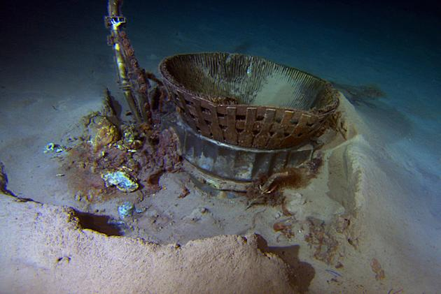 A thrust chamber from an Apollo F-1 engine pictured at the bottom of the Atlantic Ocean. Major components of the rocket engines used to launch astronauts to the Moon in the 1960s and 1970s were recove