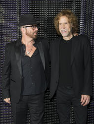 "In this March 15, 2012 photo, composers Dave Stewart and Glen Ballard pose for a photo backstage after the initial performance of the Broadway musical ""Ghost"", in New York. Ballard, a five-time Grammy Award-winning songwriter-producer who created ""Jagged Little Pill"" with Alanis Morissette and wrote ""Man In the Mirror"" for Michael Jackson, has teamed up with Dave Stewart, songwriter-producer of Eurythmics fame who has also written for Celine Dion and Shakira, to score the Broadway musical ""Ghost."" (AP Photo/Charles Sykes)"