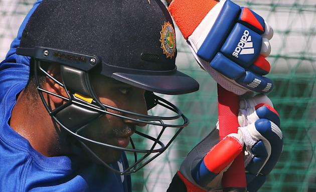 India's Sharma bats in the nets during a practice session ahead of their first one-day international cricket match against South Africa in Kanpur