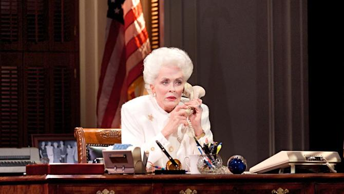 "This theater image released by The Hartman Group shows Holland Taylor as former Texas Gov. Ann Richards during a performance of ""Ann."" Taylor, perhaps best known for playing the feisty grandmother on the CBS sitcom ""Two and a Half Men,"" has written and stars in a one-woman show that debuts on Broadway this month.  (AP Photo/The Hartman Group)"
