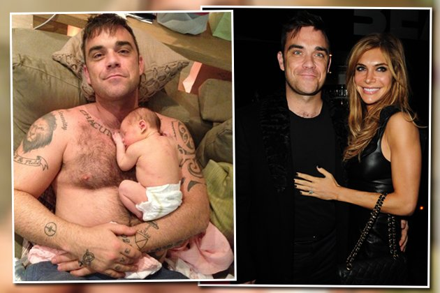 Süßer Nachwuchs für Robbie Williams & Ayda Field (Bilder: mind.robbiewilliams.com, Getty Images)