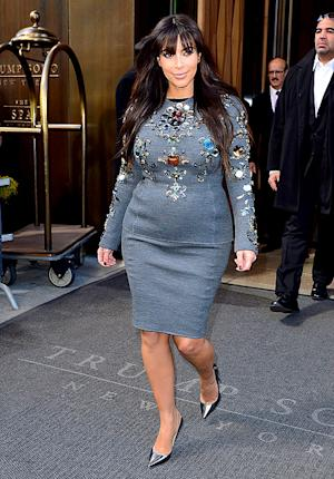 Kim Kardashian Wears Baby Bump-Hugging Embellished Dress, Shares Thoughts on Raising a Biracial Child