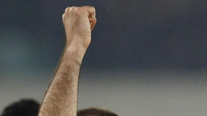 Inter Milan's Palacio celebrates after scoring against Hellas Verona during their Italian Serie A soccer match in Verona