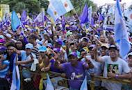 Supporters of Dominican presidential candidate for the Democratic Liberation Party (PLD), Danilo Medina, flutter flags during a rally in Santo Domingo on May 17
