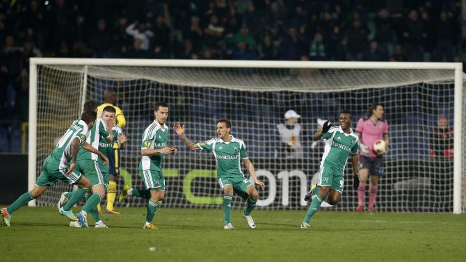 Ludogorets' players celebrate their second goal against Lazio during their Europa League soccer match in Sofia