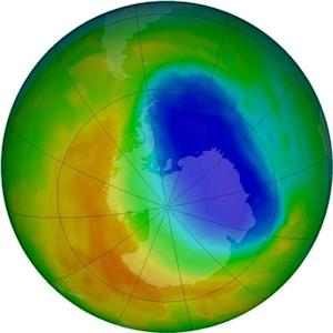 A false-color view of total ozone over the Antarctic pole is seen in this NASA handout image