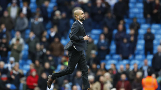 Manchester City manager Pep Guardiola at the end of the match