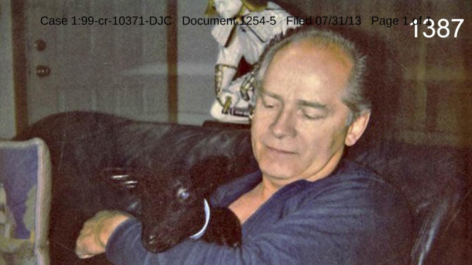"This undated photo filed in federal court documents in Boston by defense attorneys for James ""Whitey"" Bulger on Wednesday, July 31, 2013, shows Bulger with holding a goat in an unknown location. The photo was among several that showed a softer side of Bulger, which prosecutors complained were an attempt to salvage his reputation. Bulger, 83, is charged in a racketeering indictment with playing a role in 19 killings and multiple extortions during the 1970s and '80s when he alleged led the Winter Hill Gang. (AP Photo/Federal Court Documents)"