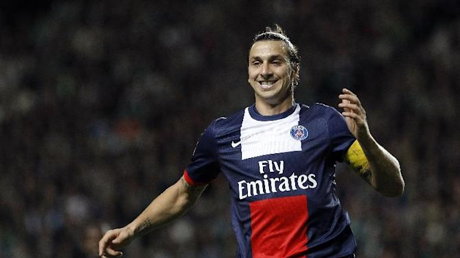 Paris Saint Germain's Zlatan Ibrahimovic runs for the ball during their French League One soccer match against Saint-Etienne, in Saint-Etienne, central France, Sunday, Oct. 27, 2013