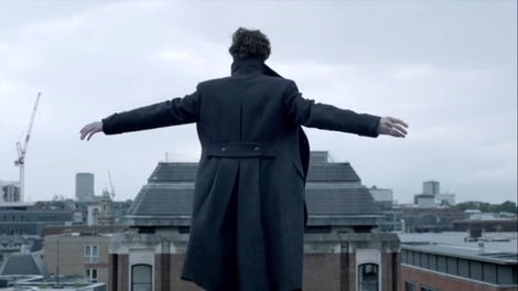 Sherlock: Sherlock just before he jumps and causes every fan of the show to theorise about how he faked his death.