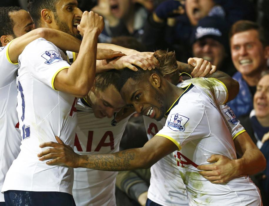 Tottenham Hotspur's Danny Rose celebrates his goal during their English Premier League soccer match against Chelsea at White Hart Lane in London